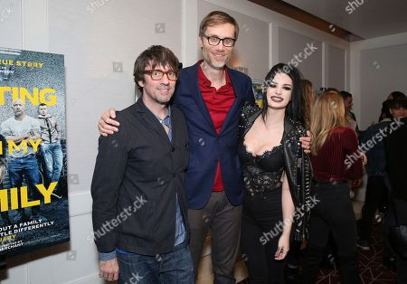 """Stock Photo of Graham Coxon, Stephen Merchant, Paige Bevis. Graham Coxon, writer/director Stephen Merchant and Paige Bevis seen at the Metro Goldwyn Mayer Pictures' """"Fighting with My Family"""" Los Angeles Tastemaker Screening at The London Hotel, in West Hollywood, Calif"""