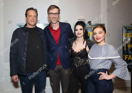 """Vince Vaughn, Stephen Merchant, Paige Bevis, Florence Pugh. Vince Vaughn, writer/director Stephen Merchant, Paige Bevis and Florence Pugh seen at the Metro Goldwyn Mayer Pictures' """"Fighting with My Family"""" Los Angeles Tastemaker Screening at The London Hotel, in West Hollywood, Calif"""