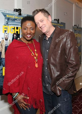 """Joni Bovill, Kirk Bovill. Joni Bovill and Kirk Bovill seen at the Metro Goldwyn Mayer Pictures' """"Fighting with My Family"""" Los Angeles Tastemaker Screening at The London Hotel, in West Hollywood, Calif"""