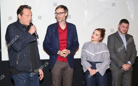 """Vince Vaughn, Stephen Merchant, Paige Bevis, Zak Bevis. Vince Vaughn, writer/director Stephen Merchant, Paige Bevis and Zak Bevis seen at the Metro Goldwyn Mayer Pictures' """"Fighting with My Family"""" Los Angeles Tastemaker Screening at The London Hotel, in West Hollywood, Calif"""