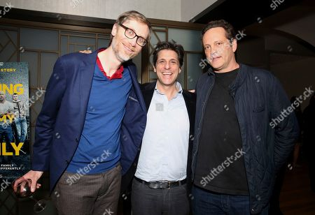 "Stephen Merchant, Jonathan Glickman, Vince Vaughn. Stephen Merchant, president of Metro-Goldwyn-Mayer Motion Picture Group Jonathan Glickman and Vince Vaughn seen at the Metro Goldwyn Mayer Pictures' ""Fighting with My Family"" Los Angeles Tastemaker Screening at The London Hotel, in West Hollywood, Calif"