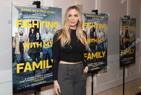 "Stock Photo of Aqueela Zoll seen at the Metro Goldwyn Mayer Pictures' ""Fighting with My Family"" Los Angeles Tastemaker Screening at The London Hotel, in West Hollywood, Calif"