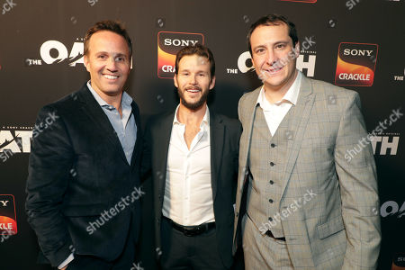 Stock Picture of Eric Berger, General Manager, Crackle, and Chief Digital Officer, Sony Pictures Television Networks, Ryan Kwanten, Producer/Actor, John Orlando, SVP of Programming and Development, Crackle,