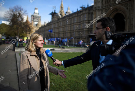 Justine Greening MP seen speaking to media in Westminster, London. Conservative and Labour MPs have resigned form their respective parties. and joined newly formed The Independent Group, a breakaway campaign group formed by seven defecting Labour MPs.