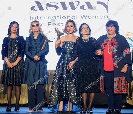 Barbara Bouchet (2-L), Egyptian actress Menna Shalaby (C), Egyptian actress Mohsena Tawfiq (2-R) and Egyptian Minister of Culture Inas Abdeldayem (R) pose for a group photo during the opening ceremony of the third edition of the Aswan International Women Film Festival (AIWFF), Aswan, Egypt, 20 February 2019 (issued 21 February 2019). The festival is running between 20 and 26 February.