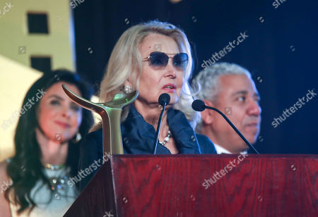Barbara Bouchet speaks after she was honored during the opening ceremony of the third edition of the Aswan International Women Film Festival (AIWFF), Aswan, Egypt, 20 February 2019 (issued 21 February 2019). The festival is running between 20 and 26 February.