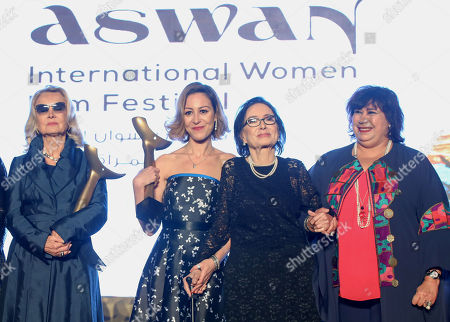 Barbara Bouchet (L), Egyptian actress Menna Shalaby (2-L), Egyptian actress Mohsena Tawfiq (2-R) and Egyptian Minister of Culture Inas Abdeldayem (R) pose for a group photo during the opening ceremony of the third edition of the Aswan International Women Film Festival (AIWFF), Aswan, Egypt, 20 February 2019 (issued 21 February 2019). The festival is running between 20 and 26 February.