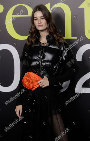Stock Photo of Ophelie Guillermand poses during the presentation of the Moncler women's Fall-Winter 2019-2020 fashion collection, that was presented in Milan, Italy, Wednesday, Feb.20, 2019
