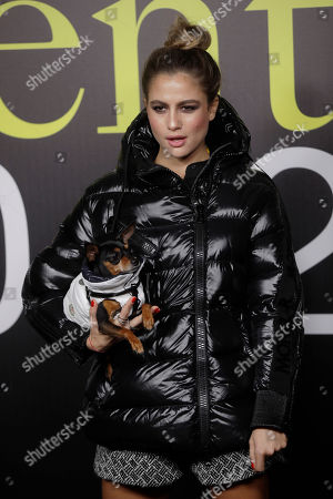 Actress Cristina Marino poses during the presentation of the Moncler women's Fall-Winter 2019-2020 fashion collection, that was presented in Milan, Italy, Wednesday, Feb.20, 2019