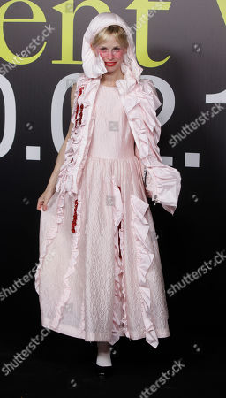 French singer and model Petite Meller poses during the presentation of the Moncler women's Fall-Winter 2019-2020 fashion collection, that was presented in Milan, Italy, Wednesday, Feb.20, 2019