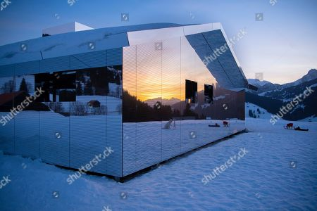 A general view of the latest installation entitled 'Mirage Gstaad' by American artist Doug Aitken at Gstaad, Switzerland, 20 February 2019 (issued 21 February 2019). This structure, presented during the exposition 'Elevation 1049: Frequencies', will be visible for the next two years.