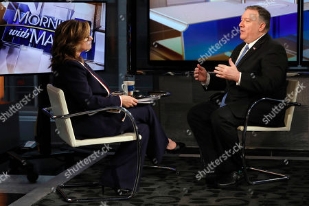 """Mike Pompeo, Maria Bartiromo. U.S. Secretary of State Mike Pompeo is interviewed by Maria Bartiromo during her """"Mornings with Maria Bartiromo"""" program on the Fox Business Network, in New York . Pompeo said Hoda Muthana, who is now in a refugee camp in Syria along with others who fled the remnants of the Islamic State, has no legal claim to citizenship and will not be permitted to enter the country"""