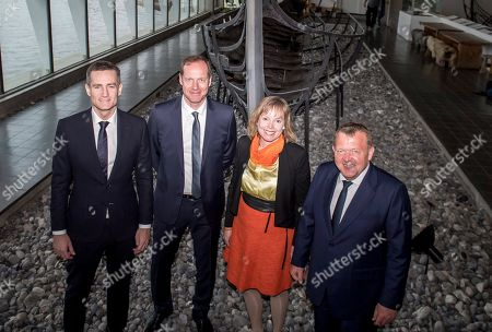 Stock Image of Tour de France race director Christian Prudhomme (2-L), Danish Prime Minister Lars Loekke Rasmussen (R), mayor of Roskilde Joy Mogensen (2-R) and commerce minister Rasmus Jarlov (L) pose at the Viking Ship Museum in Roskilde, Denmark, 21 February 2019. The 2021 Tour de France cycling race will begin in Denmark with an opening stage in Copenhagen.