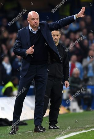 Malmo manager Uwe Rosler reacts during the UEFA Europa League Round of 32 second leg soccer match Chelsea vs Malmo in London, Britain, 21 February 2019.