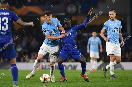 Chelsea's N'Golo Kante (C-R) vies for the ball with Malmo's Markus Rosenberg (C-L) during the UEFA Europa League Round of 32 second leg soccer match Chelsea vs Malmo in London, Britain, 21 February 2019.