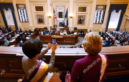 Jennifer Boysko, Janet Howell. State Senators, Jennifer Boysko, D-Fairfax, left, and Sen. Janet Howell, D-Fairfax, watch a vote on a resolution that would bring the Equal Rights Amendment to the floor of the House at the Capitol in Richmond, Va., . The resolution failed