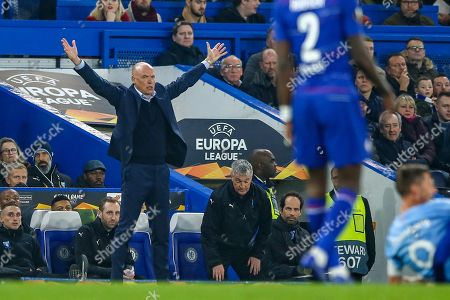 Malmö FF Manager Uwe Rosler appeals for a foul during the Europa League round of 32 leg 2 of 2 match between Chelsea and Malmo FF at Stamford Bridge, London