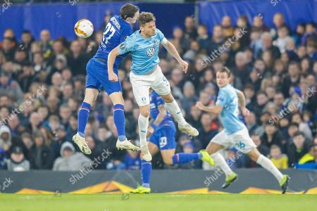 Chelsea defender Andreas Christensen (27) and Malmo FF forward Markus Rosenberg (9) battle in the air during the Europa League match between Chelsea and Malmo FF at Stamford Bridge, London