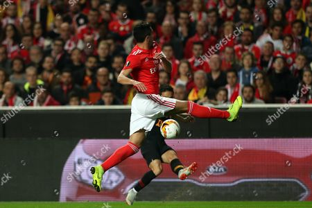 Benfica's Andre Almeida (L) in action against Galatasaray's Yuto Nagatomo during their UEFA Europe League round of 32 second leg soccer match at Luz Stadium, in Lisbon, Portugal, 21 February 2019.