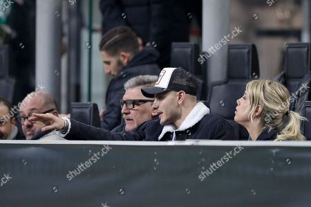 FC Inter's forward Mauro Icardi with Wanda Nara during the UEFA Europa League Round of 32 second leg soccer match between FC Inter and Sk Rapid Vienna at Giuseppe Meazza Stadium in Milan, Italy, 21 February 2019.