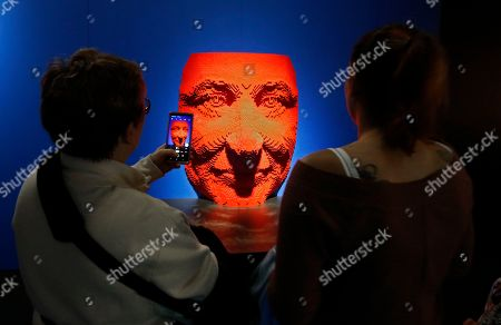 People look at a sculpture that is part of 'The Art Of The Brick' traveling exhibition of art made out of Lego's appearing at the Perot Museum of Nature and Science in Dallas, Texas, USA, 21 February 2019. The artist Nathan Sawaya was a former New York City corporate lawyer.