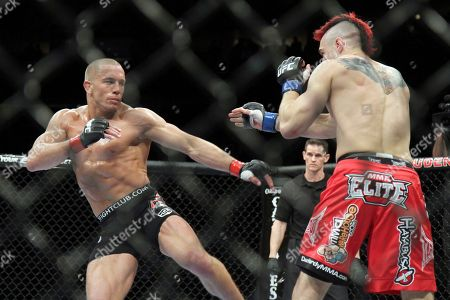 Dan Hardy, Georges St. Pierre. Georges St. Pierre, left, in action against Dan Hardy in their UFC 111 fight at the Prudential Center in Newark, NJ on . St. Pierre retained his title via 5-round unanimous decision