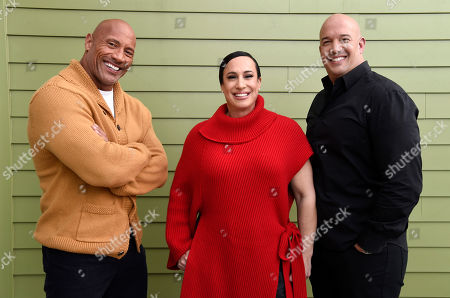 "Stock Image of Dwayne Johnson, Dany Garcia, Hiram Garcia. Dwayne Johnson, left, and Dany Garcia, center, co-founders and co-CEOs of Seven Bucks Productions, and her brother Hiram Garcia, the company's president of production, pose together during the 2019 Sundance Film Festival, in Park City, Utah. Johnson put on his independent film producer hat to make his latest film, ""Fighting With My Family"