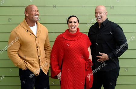 "Dwayne Johnson, Dany Garcia, Hiram Garcia. Dwayne Johnson, left, and Dany Garcia, center, co-founders and co-CEOs of Seven Bucks Productions, and her brother Hiram Garcia, the company's president of production, pose together during the 2019 Sundance Film Festival, in Park City, Utah. Johnson put on his independent film producer hat to make his latest film, ""Fighting With My Family"