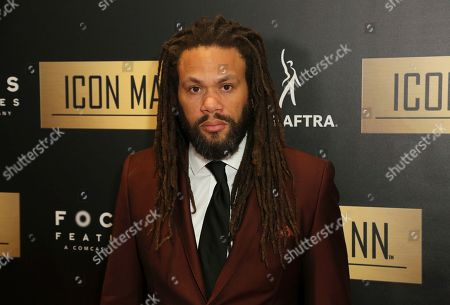 Franklin Leonard arrives at the 7th Annual ICON MANN Pre-Oscar Dinner at the Waldorf Astoria, in Beverly Hills, Calif