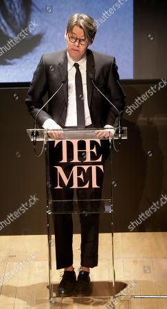 Andrew Bolton Curator in Charge of The Costume Institute at The Metropolitan Museum of Art presents this year's Costume Institute exhibition titled ''Camp: Notes on Fashion,'' at the Teatro Gerolamo, in Milan, Italy, . The exhibition will be shown at the Metropolitan Museum of Art of New York, from May 9-Sept. 8, 2019