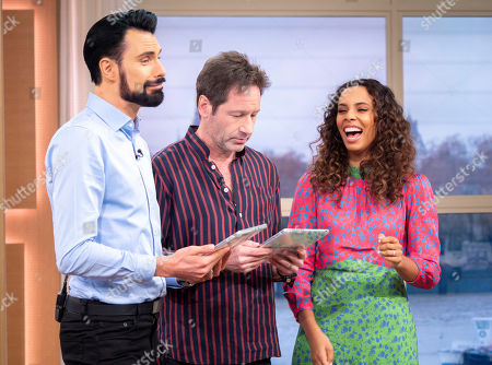 Stock Picture of Rylan Clark and Rochelle Humes with David Duchovny