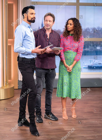 Stock Image of Rylan Clark and Rochelle Humes with David Duchovny