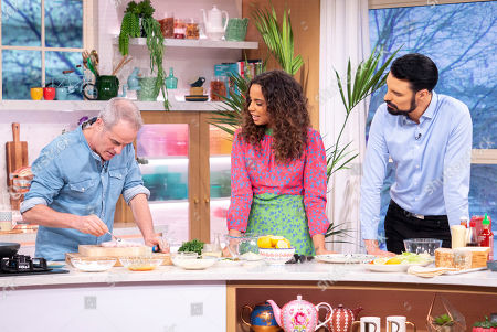 Rylan Clark and Rochelle Humes with Phil Vickery