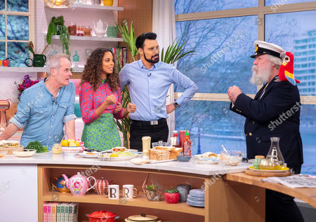 Stock Photo of Rylan Clark and Rochelle Humes with Phil Vickery