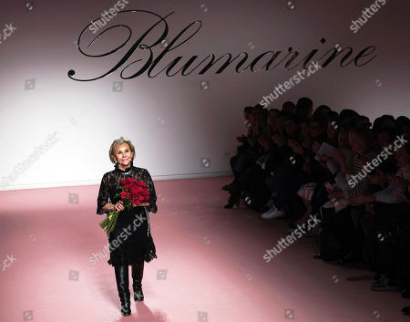 Italian designer Anna Molinari greets guests after presentation of Blumarine collection during the Milan Fashion Week, in Milan, Italy, 22 February 2019. The Fall-Winter 2019/20 Women's collections are presented at the Milano Moda Donna from 20 to 25 February 2019.