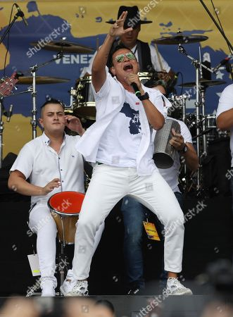 Colombian singer Silvestre Dangond performs during the Venezuela Aid Live concert on the Colombian side of the Tienditas International Bridge near Cucuta, Colombia, on the border with Venezuela