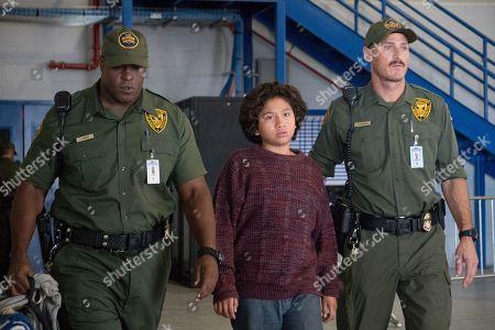 Stock Image of Jermaine Washington as Officer Lance, Anthony Gonzalez as Oscar and Dylan Kenin as Officer Stevens