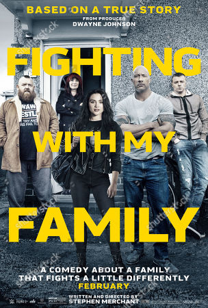 Fighting with My Family (2019) Poster Art. Nick Frost as Ricky Knight, Lena Headey as Julia Knight, Florence Pugh as Paige, Dwayne Johnson and Jack Lowden as Zak Knight