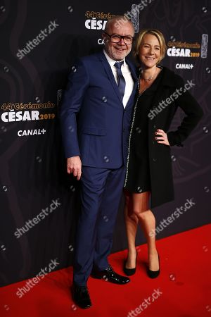 Olivier Baroux and wife arrive for the 44th annual Cesar awards ceremony held at the Salle Pleyel concert hall in Paris, France, 22 February 2019.