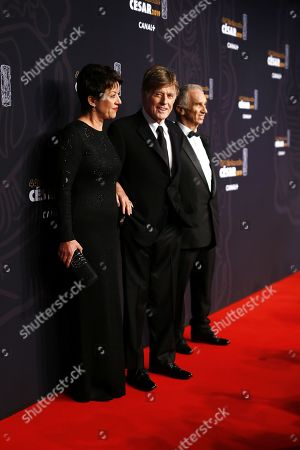 Guest of Honor, Robert Redford (C), his wife and Alain Terzian arrive for the 44th annual Cesar awards ceremony held at the Salle Pleyel concert hall in Paris, France, 22 February 2019.