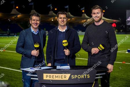 Stock Image of Ospreys vs Munster. Premier Sports Dougie Vipond, Hugo Southwell and Ryan Wilson