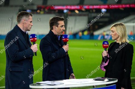 Sky Sport presenters Jamie Carragher, Gary Neville and Kelly Cates