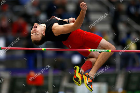 Samuel Black competes in the high jump part of the heptathlon during USA Track and Field Indoor Championships, in New York