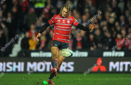 Billy Twelvetrees of Gloucester Rugby  kicks the ball for a try conversion