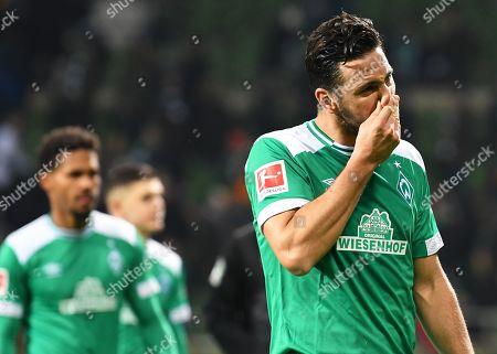 Bremen's Claudio Pizarro reacts after the German Bundesliga soccer match between Werder Bremen and VfB Stuttgart in Bremen, Germany, 22 February 2019.