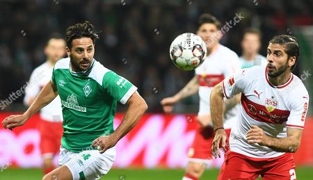 Bremen's Claudio Pizarro (L) in action against Stuttgart's Emiliano Insua (R) during the German Bundesliga soccer match between Werder Bremen and VfB Stuttgart in Bremen, Germany, 22 February 2019.