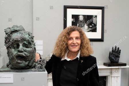 Nicole Farhi with sculpture of her tutor, Sir Eduardo Paolozzi.