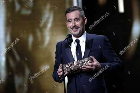 Xavier Legrand receives the Best Original Screenplay award for the movie 'Jusqu'a la Garde' during the 44th annual Cesar awards ceremony held at the Salle Pleyel concert hall in Paris, France, 22 February 2019.