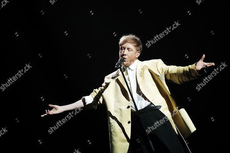 Eddy de Pretto performs a song to pay tribute to late singer Charles Aznavour during the 44th annual Cesar awards ceremony held at the Salle Pleyel concert hall in Paris, France, 22 February 2019.
