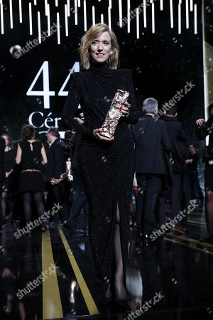 Stock Image of Lea Drucker poses with the Best Actress award for her performance in 'Jusqu'a la Garde' during the 44th annual Cesar awards ceremony held at the Salle Pleyel concert hall in Paris, France, 22 February 2019.